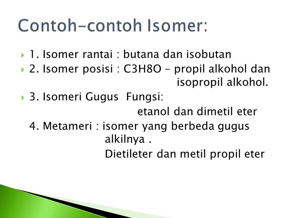  1.Isomer rantai : butana dan isobutan  2.