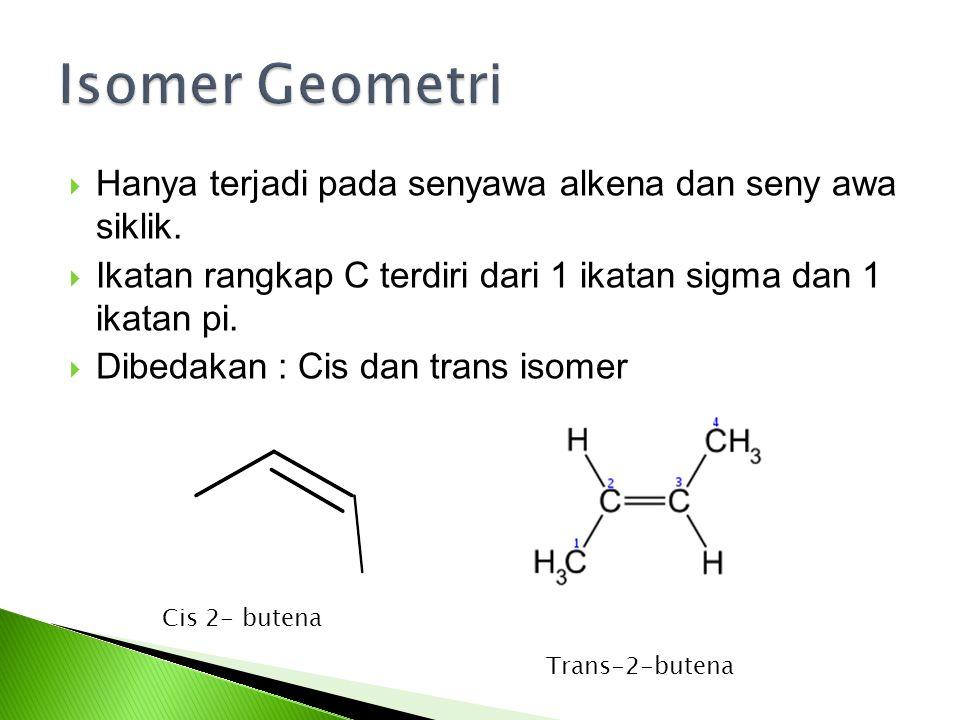  Hanya terjadi pada senyawa alkena dan seny awa siklik.