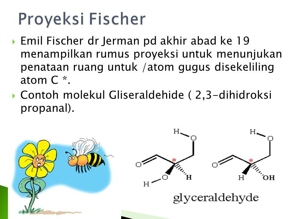  Emil Fischer dr Jerman pd akhir abad ke 19 menampilkan rumus proyeksi untuk menunjukan penataan ruang untuk /atom gugus disekeliling atom C *.