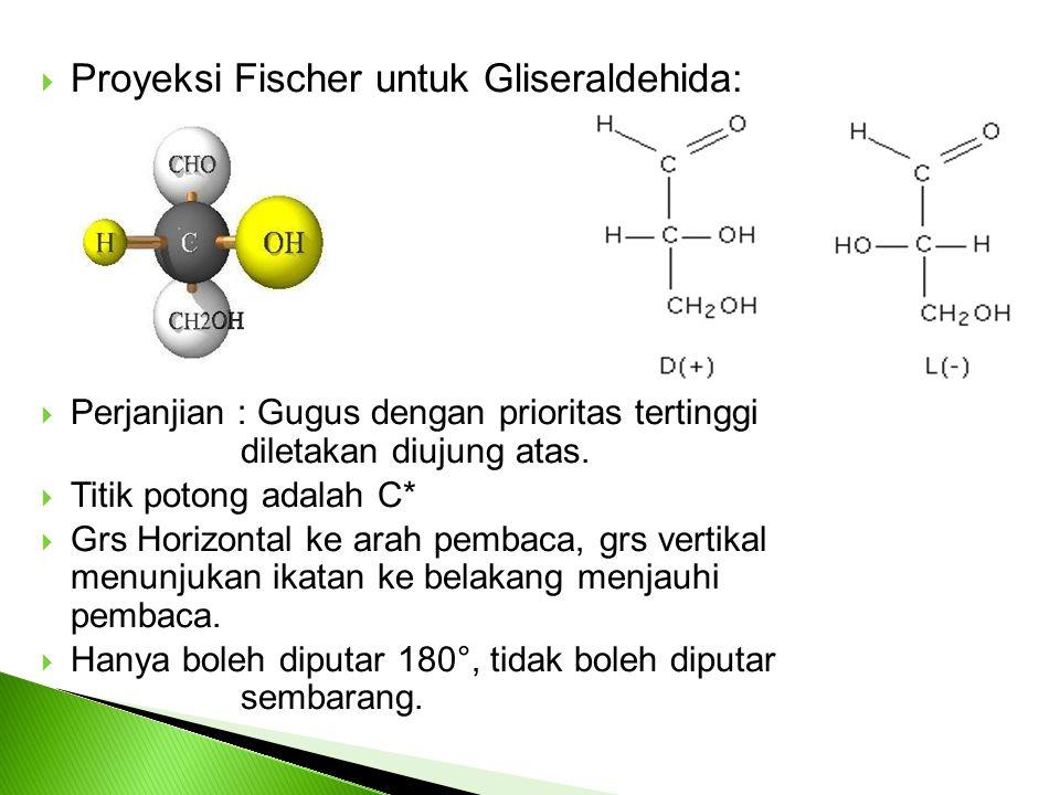  Proyeksi Fischer untuk Gliseraldehida:  Perjanjian : Gugus dengan prioritas tertinggi diletakan diujung atas.