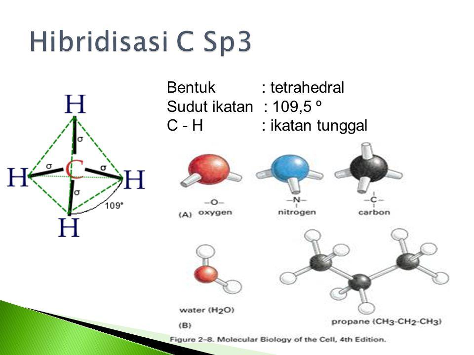 Bentuk : tetrahedral Sudut ikatan : 109,5 º C - H : ikatan tunggal