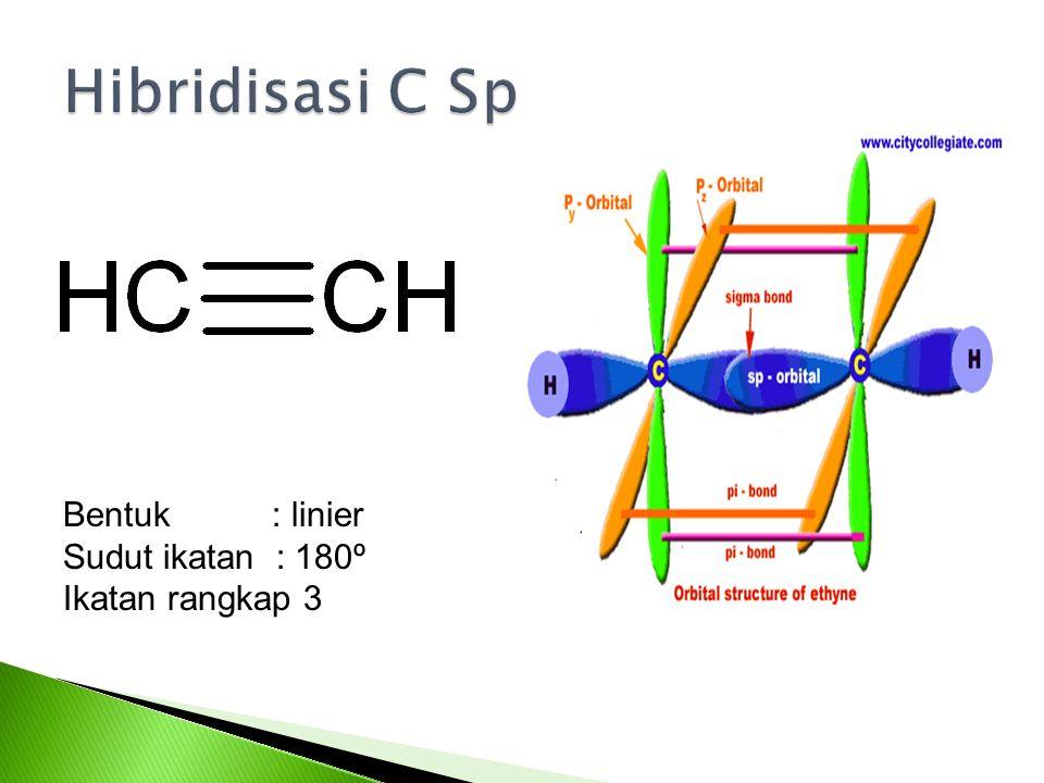 Bentuk : linier Sudut ikatan : 180º Ikatan rangkap 3