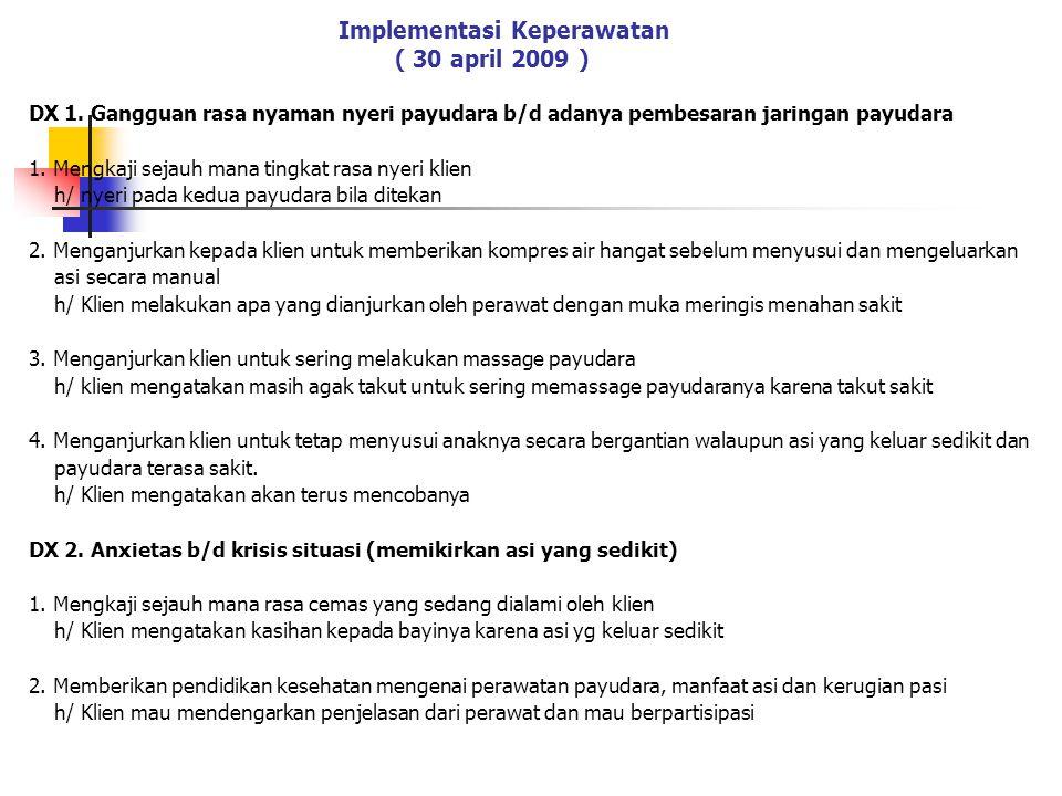 Implementasi Keperawatan ( 30 april 2009 ) DX 1.