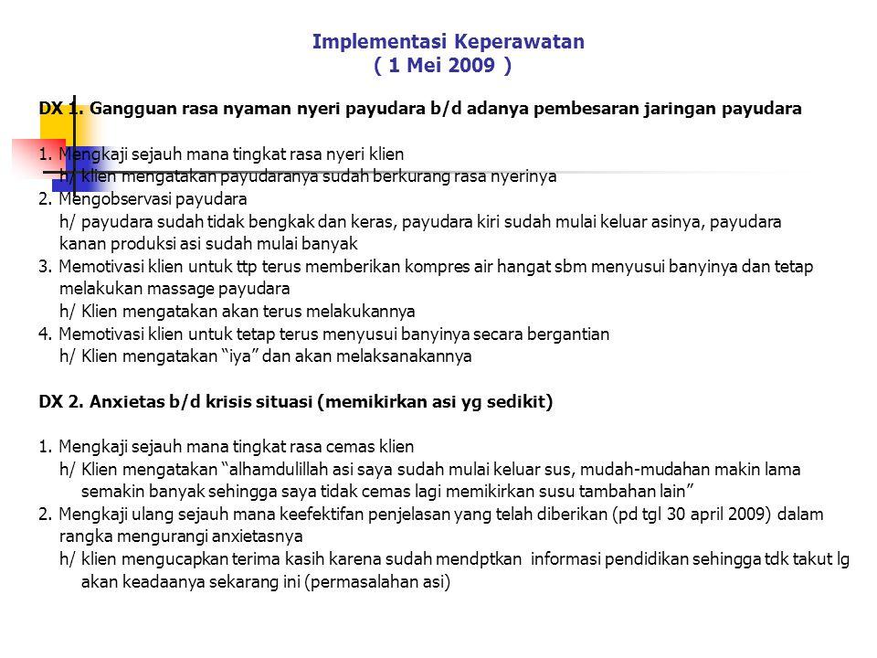 Implementasi Keperawatan ( 1 Mei 2009 ) DX 1.