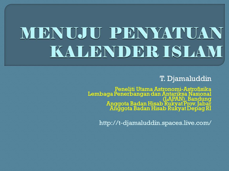 Tahun Derajat Tinggi bulan di Bandung pada awal bulan RamadhanSyawalDzulhijjah 1422/2001-20021,7 rawan perbedaan 6,32,5 rawan perbedaan 1423/2002-20037,71,2 rawan perbedaan 1,3 rawan perbedaan 1424/2003-200411,86,18,5 1425/2004-20053,410,313,8 1426/200510,03,34,7 1427/20068,80,9 rawan perbedaan 10,6 1428/20078,50,7 rawan perbedaan 7,4