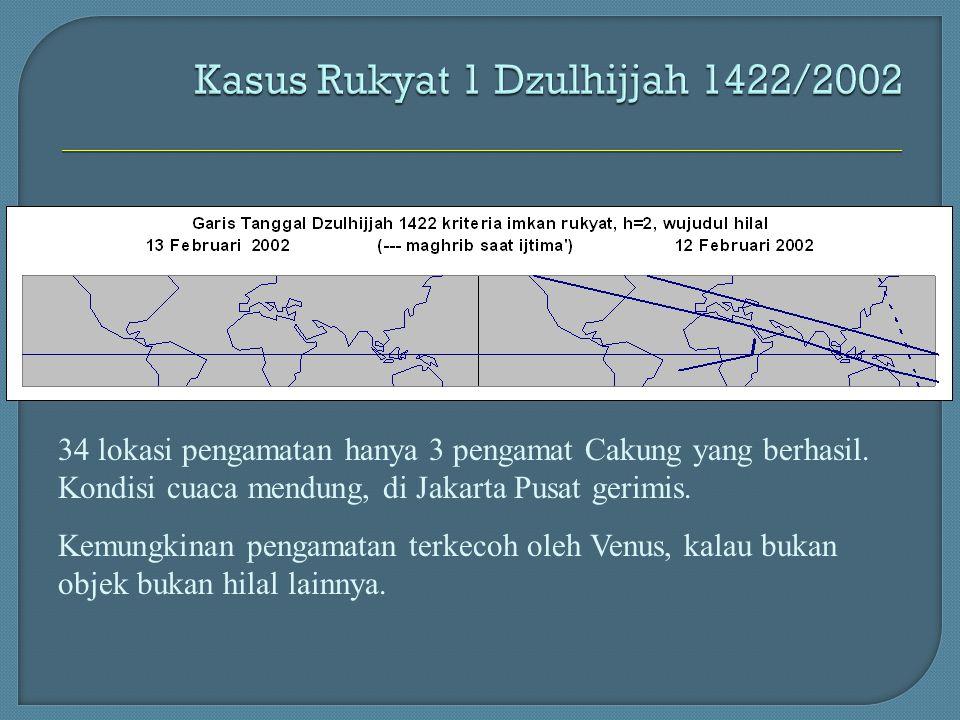 34 lokasi pengamatan hanya 3 pengamat Cakung yang berhasil. Kondisi cuaca mendung, di Jakarta Pusat gerimis. Kemungkinan pengamatan terkecoh oleh Venu