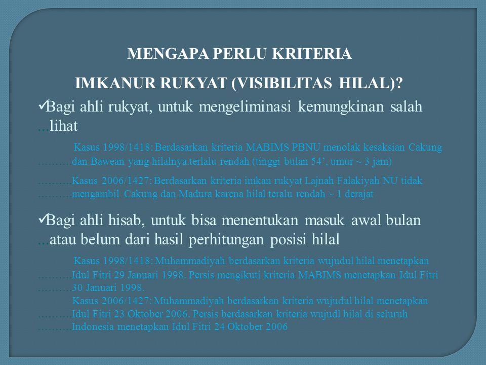 MENGAPA PERLU KRITERIA IMKANUR RUKYAT (VISIBILITAS HILAL)? Bagi ahli rukyat, untuk mengeliminasi kemungkinan salah...lihat Kasus 1998/1418: Berdasarka