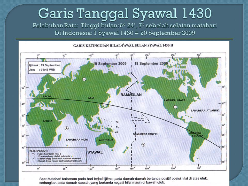 Garis Tanggal Syawal 1430 Pelabuhan Ratu: Tinggi bulan: 6 o 24', 7 o sebelah selatan matahari Di Indonesia: 1 Syawal 1430 = 20 September 2009