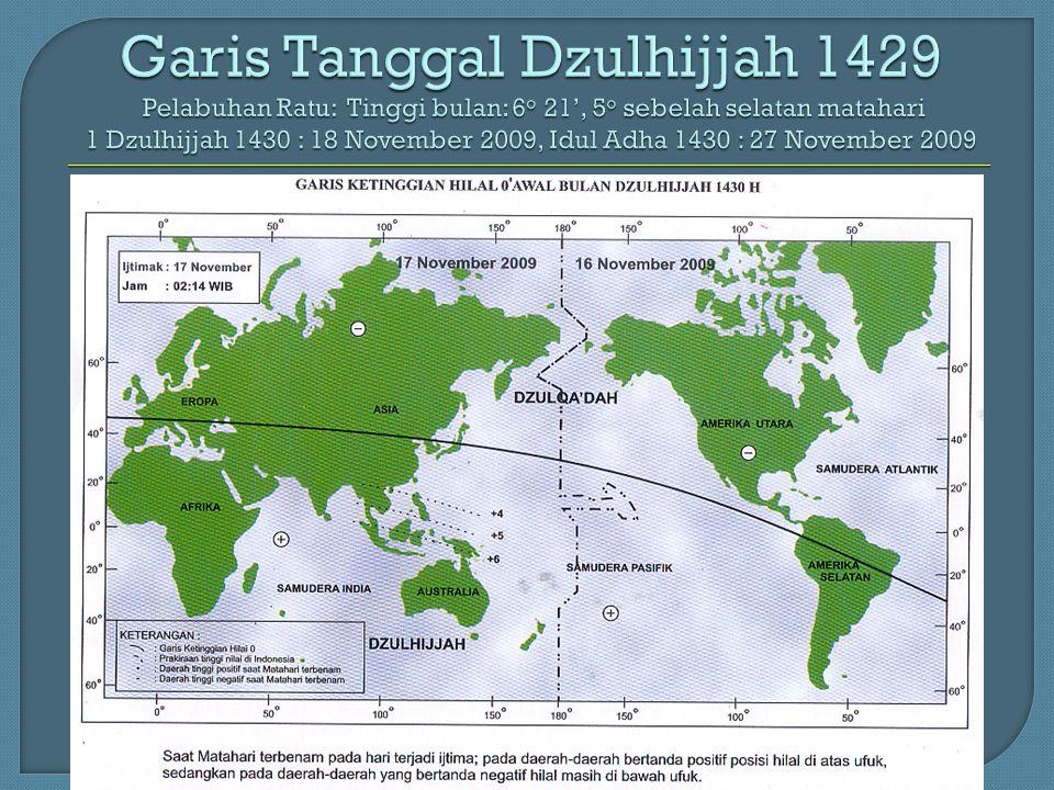 Garis Tanggal Dzulhijjah 1429 Pelabuhan Ratu: Tinggi bulan: 6 o 21', 5 o sebelah selatan matahari 1 Dzulhijjah 1430 : 18 November 2009, Idul Adha 1430