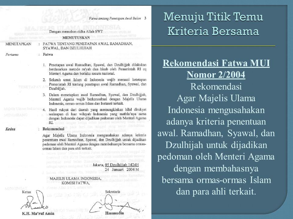 Rekomendasi Fatwa MUI Nomor 2/2004 Rekomendasi Agar Majelis Ulama Indonesia mengusahakan adanya kriteria penentuan awal. Ramadhan, Syawal, dan Dzulhij
