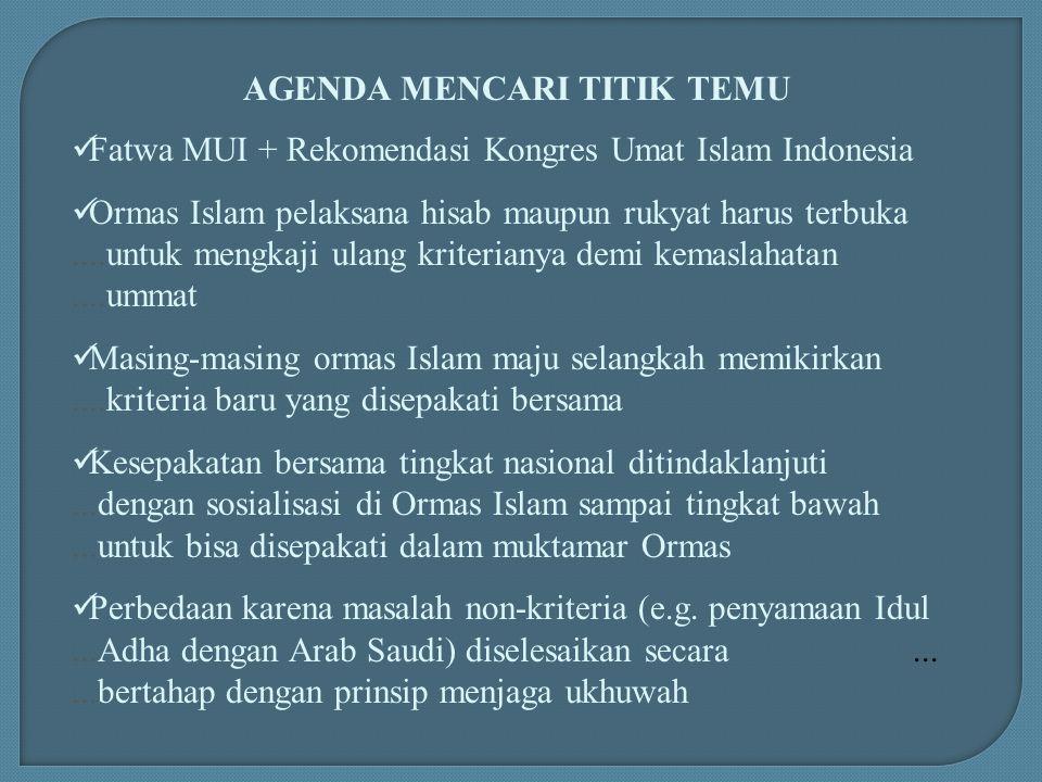 AGENDA MENCARI TITIK TEMU Fatwa MUI + Rekomendasi Kongres Umat Islam Indonesia Ormas Islam pelaksana hisab maupun rukyat harus terbuka....untuk mengka