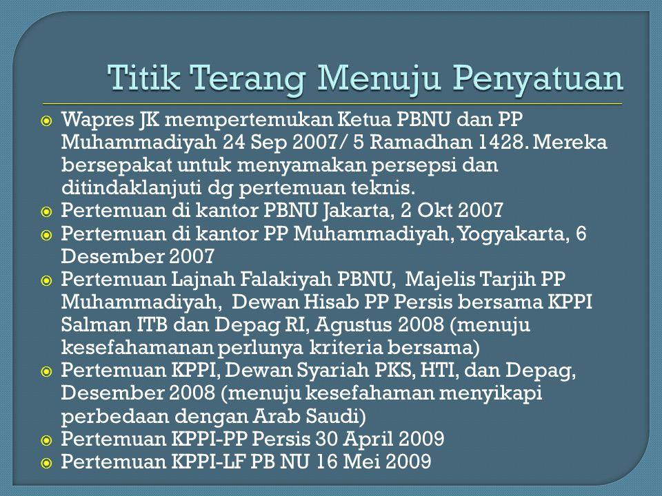  Wapres JK mempertemukan Ketua PBNU dan PP Muhammadiyah 24 Sep 2007/ 5 Ramadhan 1428. Mereka bersepakat untuk menyamakan persepsi dan ditindaklanjuti