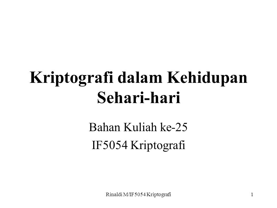 Rinaldi M/IF5054 Kriptografi2 Kartu Cerdas (Smart Card)