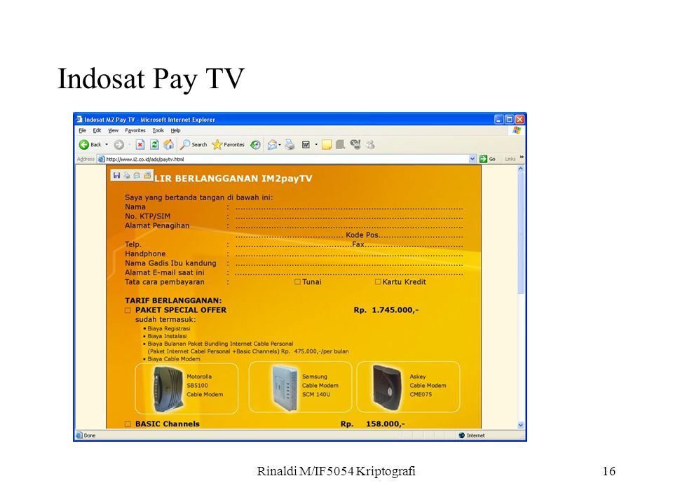 Rinaldi M/IF5054 Kriptografi16 Indosat Pay TV
