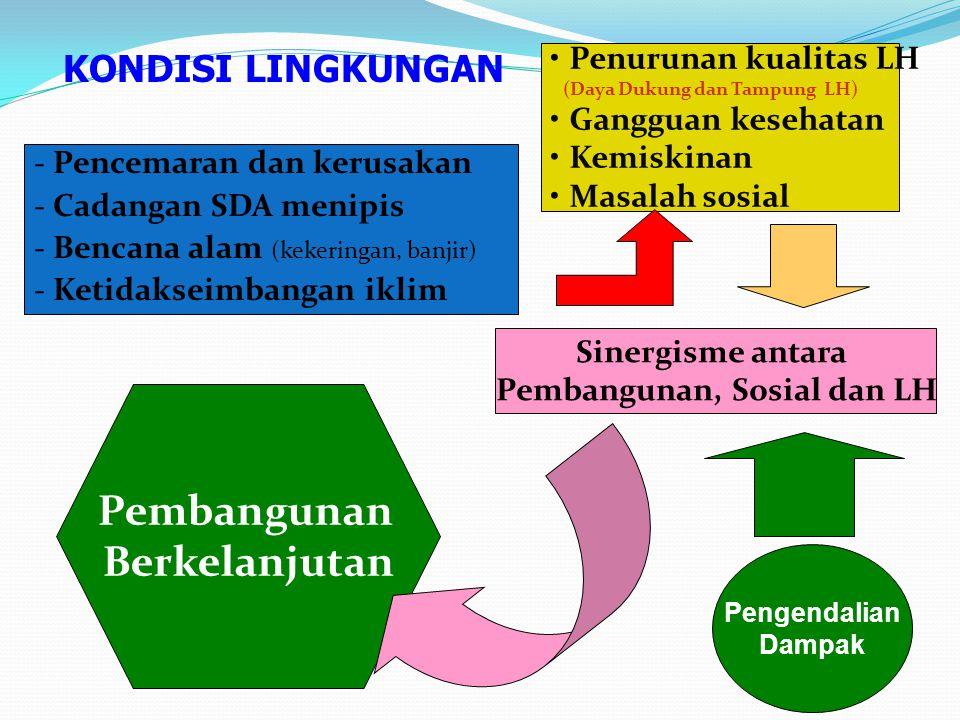 -Pencemaran dan kerusakan -Cadangan SDA menipis -Bencana alam (kekeringan, banjir) -Ketidakseimbangan iklim Penurunan kualitas LH (Daya Dukung dan Tam