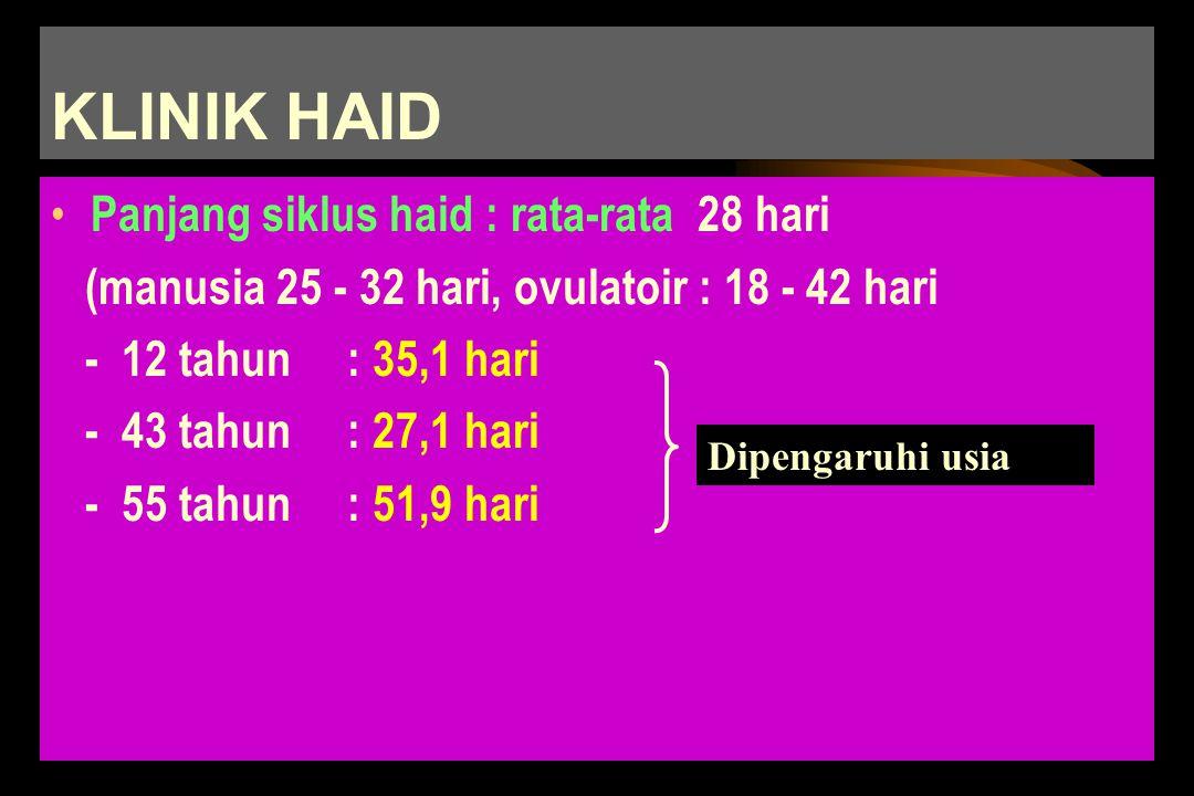 H A I D Tanda kandungan berfaalTanda kandungan berfaal Perdarahan periodik dan siklik dari uterus,disertai pelepasan endometriumPerdarahan periodik da