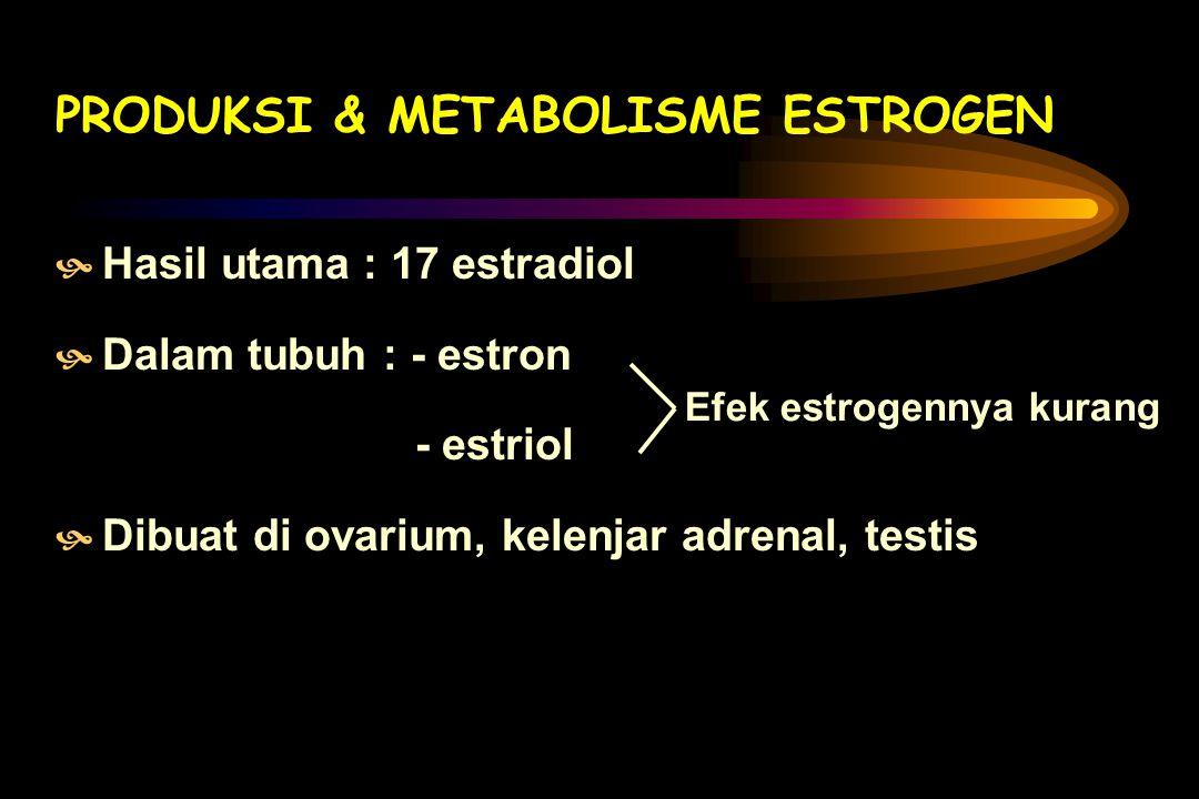 EFEK ESTROGEN DALAM DARAH MMempengaruhi balance garam & air MMempengaruhi metab. C.H, Calcium MMempengaruhi perbandingan kolesterol/ fosfolipid