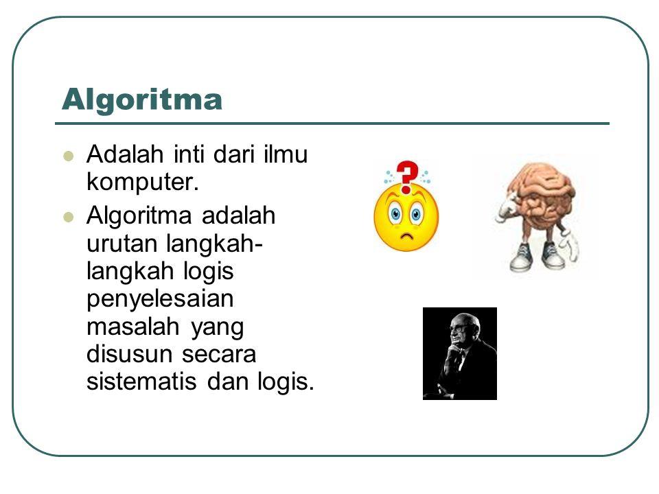 Algoritma Adalah inti dari ilmu komputer. Algoritma adalah urutan langkah- langkah logis penyelesaian masalah yang disusun secara sistematis dan logis