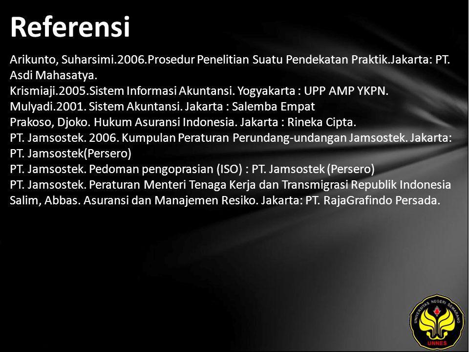 Referensi Arikunto, Suharsimi.2006.Prosedur Penelitian Suatu Pendekatan Praktik.Jakarta: PT.