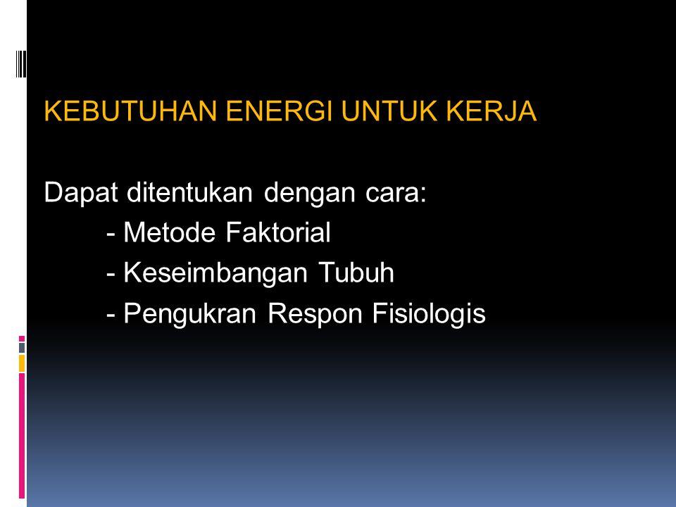 KEBUTUHAN ENERGI UNTUK KERJA Dapat ditentukan dengan cara: - Metode Faktorial - Keseimbangan Tubuh - Pengukran Respon Fisiologis