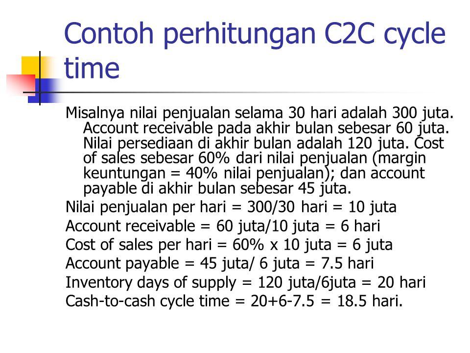 Contoh perhitungan C2C cycle time Misalnya nilai penjualan selama 30 hari adalah 300 juta. Account receivable pada akhir bulan sebesar 60 juta. Nilai