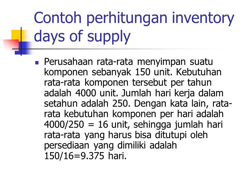 Contoh perhitungan inventory days of supply Perusahaan rata-rata menyimpan suatu komponen sebanyak 150 unit. Kebutuhan rata-rata komponen tersebut per