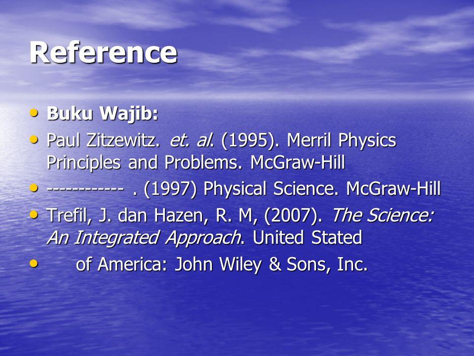 Reference Buku Wajib: Buku Wajib: Paul Zitzewitz. et. al. (1995). Merril Physics Principles and Problems. McGraw-Hill Paul Zitzewitz. et. al. (1995).