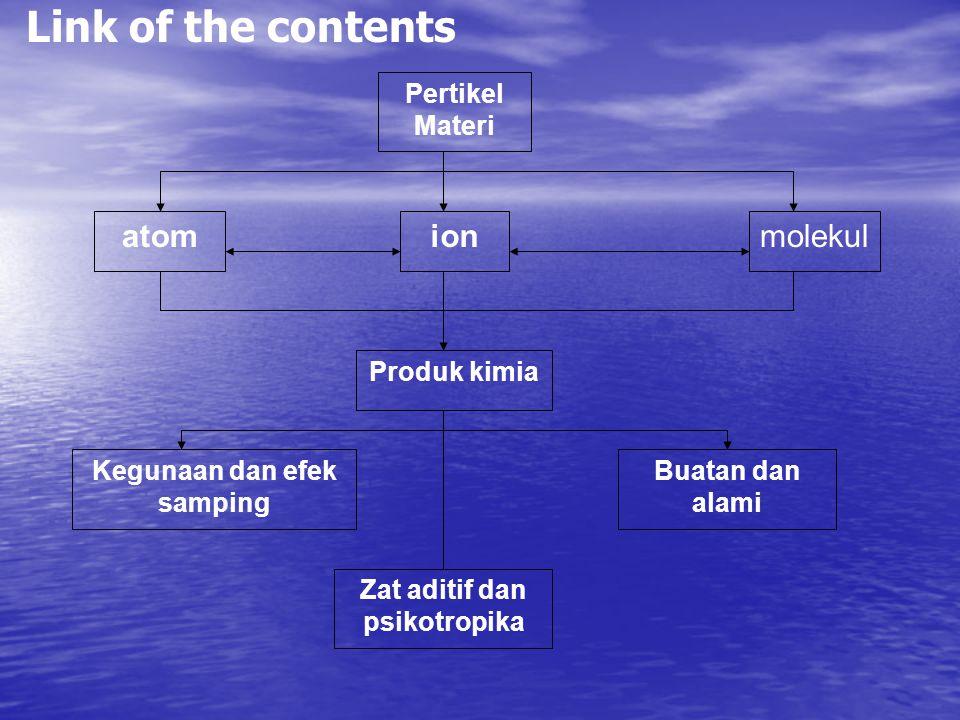 Pertikel Materi atomionmolekul Produk kimia Kegunaan dan efek samping Buatan dan alami Zat aditif dan psikotropika Link of the contents