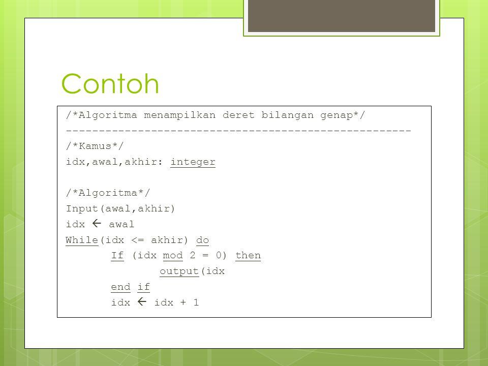 Contoh /*Algoritma menampilkan deret bilangan genap*/ ----------------------------------------------------- /*Kamus*/ idx,awal,akhir: integer /*Algori