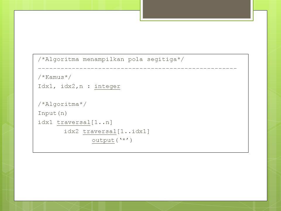 /*Algoritma menampilkan pola segitiga*/ ----------------------------------------------------- /*Kamus*/ Idx1, idx2,n : integer /*Algoritma*/ Input(n)