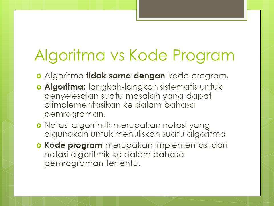 Algoritma vs Kode Program  Algoritma tidak sama dengan kode program.  Algoritma : langkah-langkah sistematis untuk penyelesaian suatu masalah yang d