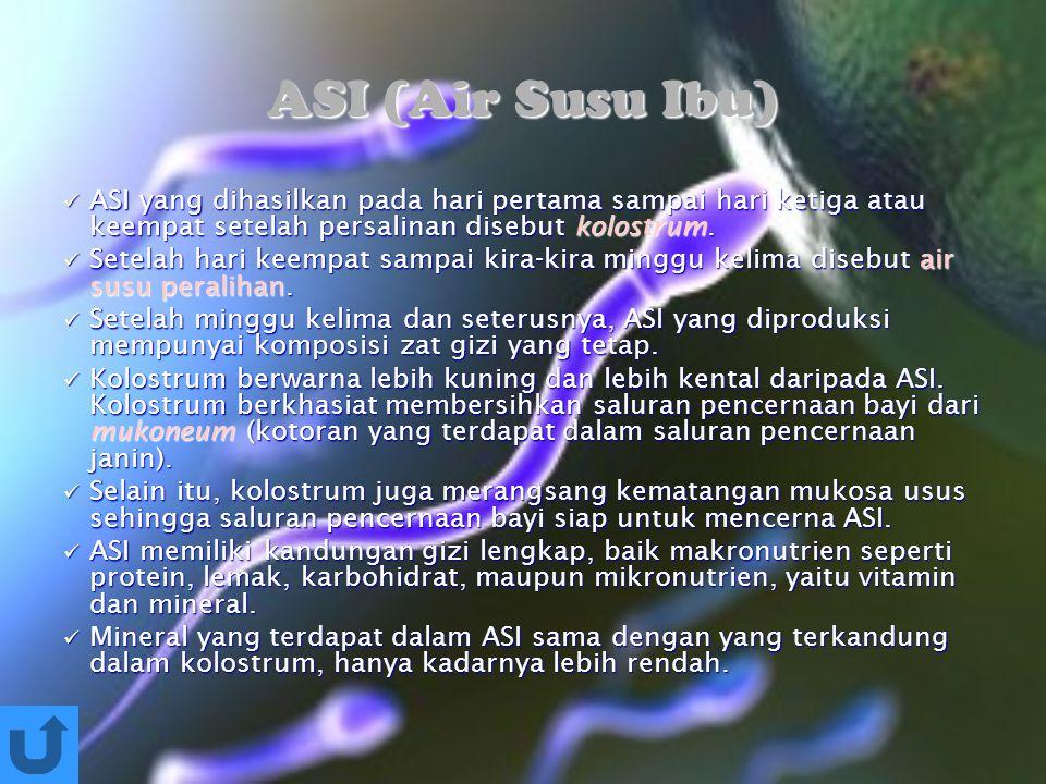 ASI (Air Susu Ibu) ASI yang dihasilkan pada hari pertama sampai hari ketiga atau keempat setelah persalinan disebut kolostrum. ASI yang dihasilkan pad