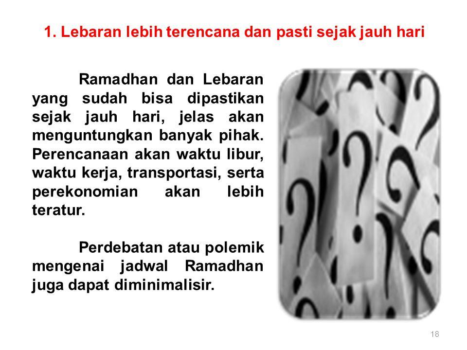 1. Lebaran lebih terencana dan pasti sejak jauh hari 18 Ramadhan dan Lebaran yang sudah bisa dipastikan sejak jauh hari, jelas akan menguntungkan bany
