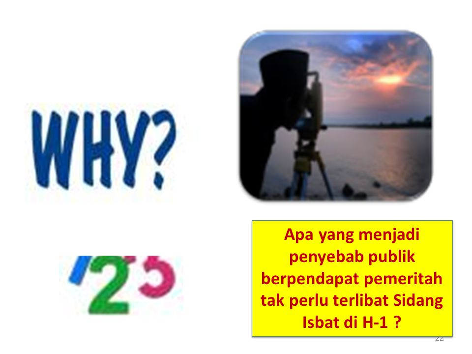 22 Apa yang menjadi penyebab publik berpendapat pemeritah tak perlu terlibat Sidang Isbat di H-1 ?