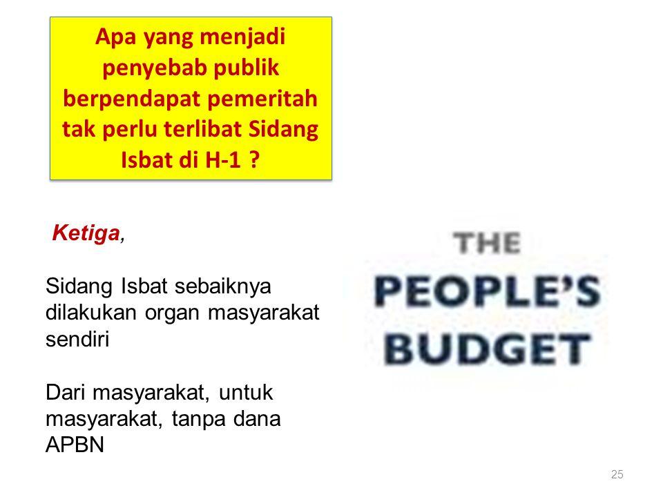 25 Ketiga, Sidang Isbat sebaiknya dilakukan organ masyarakat sendiri Dari masyarakat, untuk masyarakat, tanpa dana APBN Apa yang menjadi penyebab publ