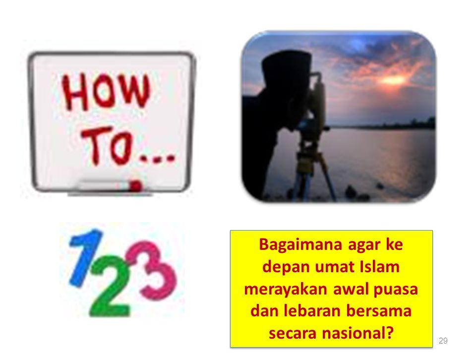 29 Bagaimana agar ke depan umat Islam merayakan awal puasa dan lebaran bersama secara nasional?