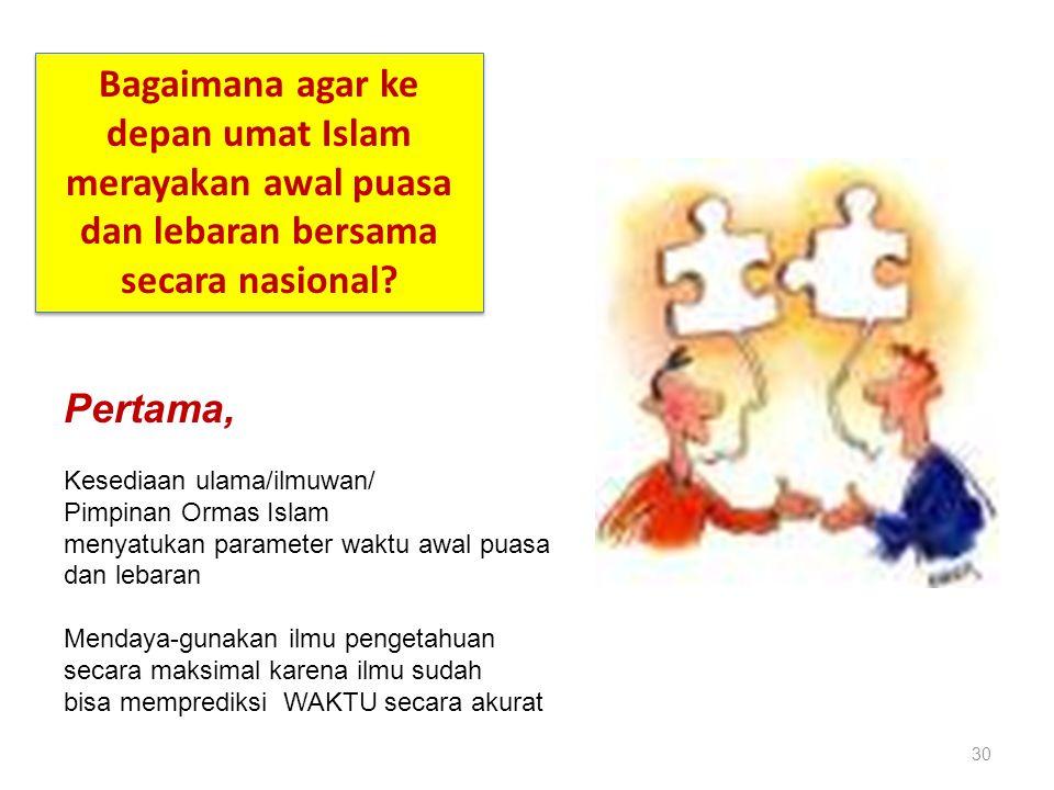 30 Bagaimana agar ke depan umat Islam merayakan awal puasa dan lebaran bersama secara nasional? Pertama, Kesediaan ulama/ilmuwan/ Pimpinan Ormas Islam