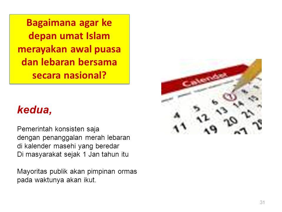 31 Bagaimana agar ke depan umat Islam merayakan awal puasa dan lebaran bersama secara nasional? kedua, Pemerintah konsisten saja dengan penanggalan me