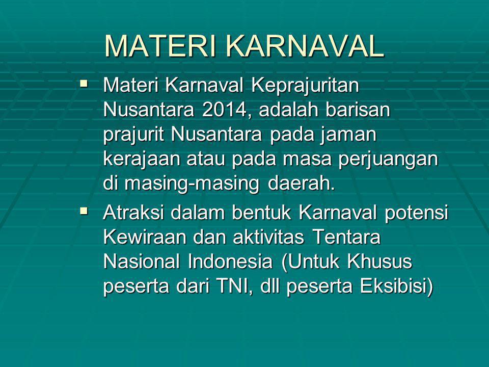 MATERI KARNAVAL  Materi Karnaval Keprajuritan Nusantara 2014, adalah barisan prajurit Nusantara pada jaman kerajaan atau pada masa perjuangan di masi