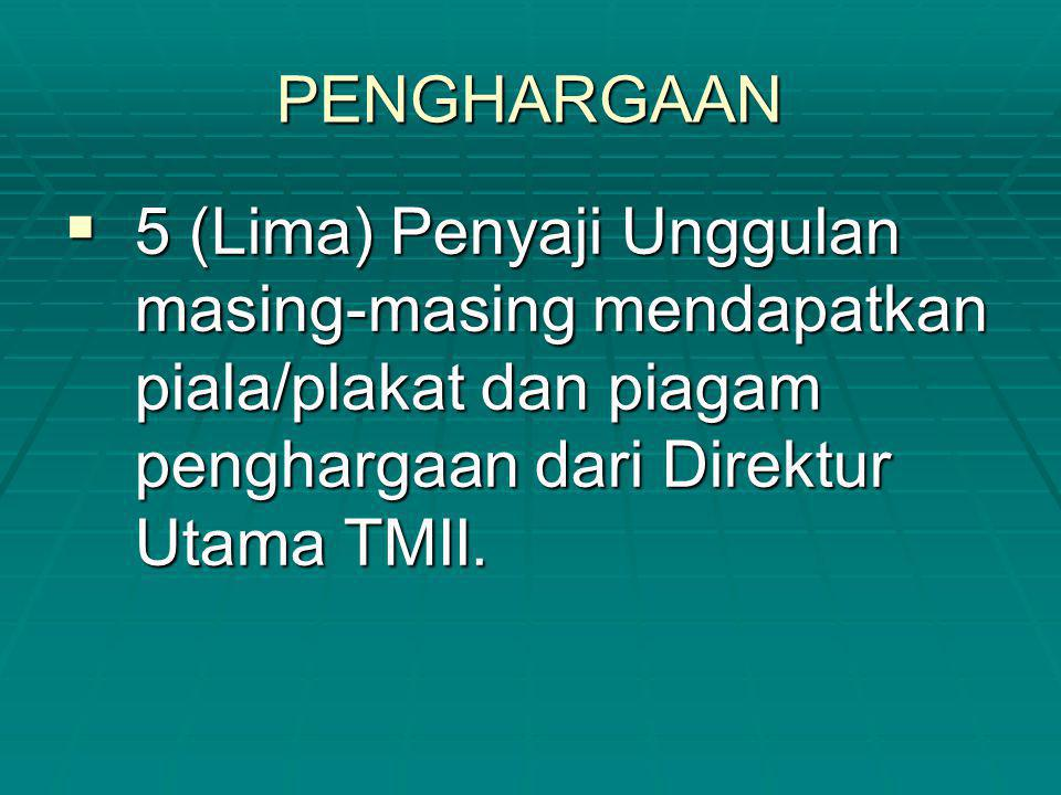 PENGHARGAAN  5 (Lima) Penyaji Unggulan masing-masing mendapatkan piala/plakat dan piagam penghargaan dari Direktur Utama TMII.