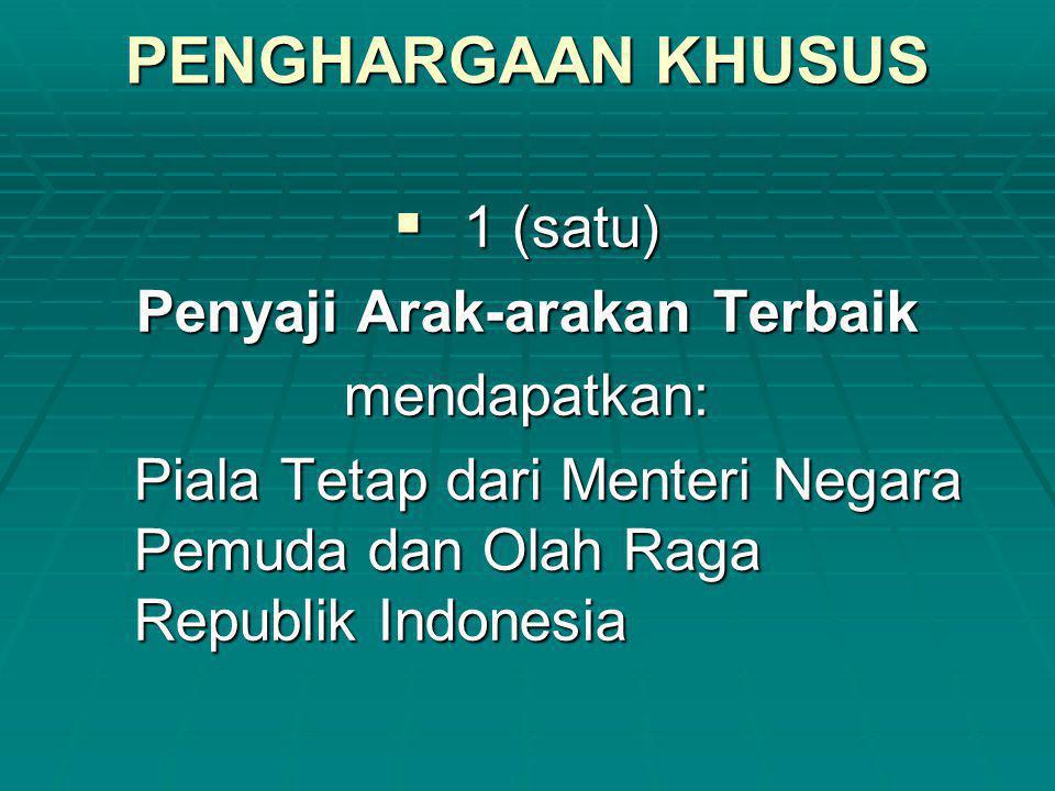 PENGHARGAAN KHUSUS  1 (satu) Penyaji Arak-arakan Terbaik mendapatkan: Piala Tetap dari Menteri Negara Pemuda dan Olah Raga Republik Indonesia