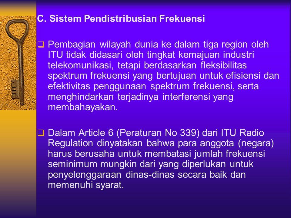 C. Sistem Pendistribusian Frekuensi  Pembagian wilayah dunia ke dalam tiga region oleh ITU tidak didasari oleh tingkat kemajuan industri telekomunika