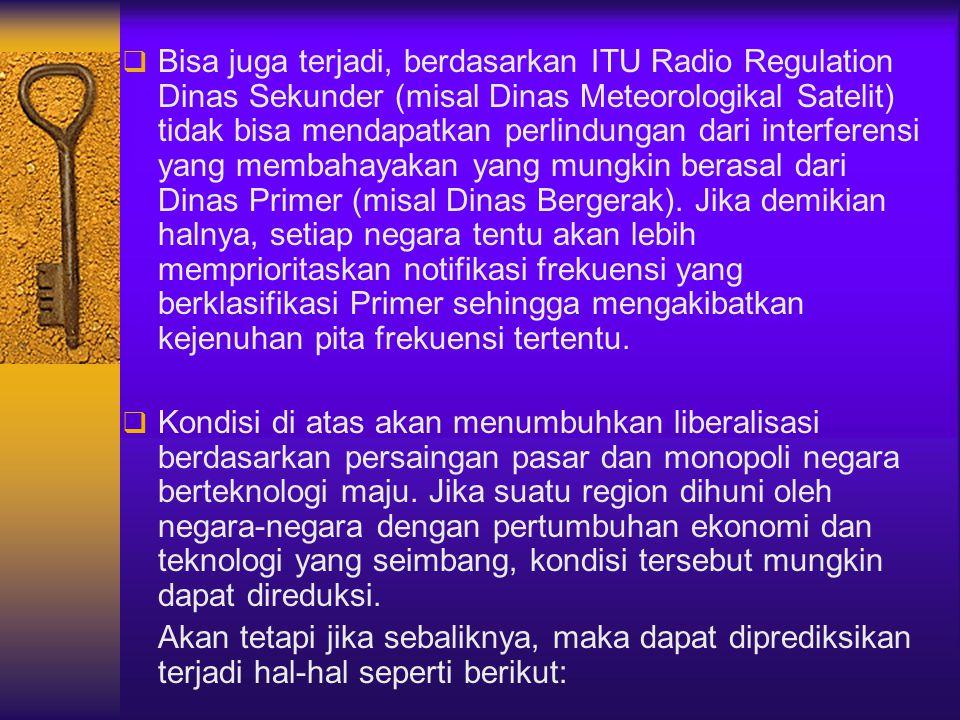  Bisa juga terjadi, berdasarkan ITU Radio Regulation Dinas Sekunder (misal Dinas Meteorologikal Satelit) tidak bisa mendapatkan perlindungan dari int