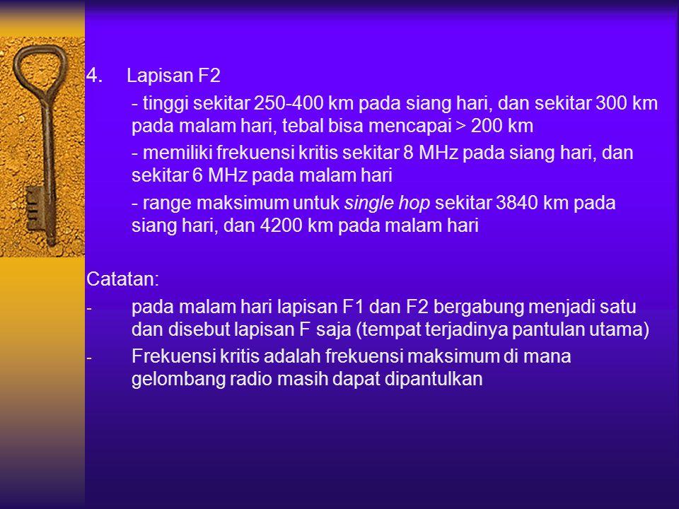 4. Lapisan F2 - tinggi sekitar 250-400 km pada siang hari, dan sekitar 300 km pada malam hari, tebal bisa mencapai > 200 km - memiliki frekuensi kriti