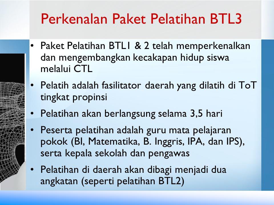 Paket BTL3 ini membahas beberapa isyu secara lebih mendalam a.l.: –Penyusunan dan pelaksanaan program pembelajaran jangka menengah –Pengembangan Lembar Kerja yang menantang siswa untuk memecahkan masalah –Media Pembelajaran yang berbiaya rendah dan dimanfaatkan sebanyak-banyaknya oleh siswa –Penilaian kerja siswa dengan menggunakan rubrik –Peran KS dan PS dalam mendorong perubahan Pelatihan BTL3 termasuk praktik mengajar di sekolah Perkenalan Paket Pelatihan BTL3