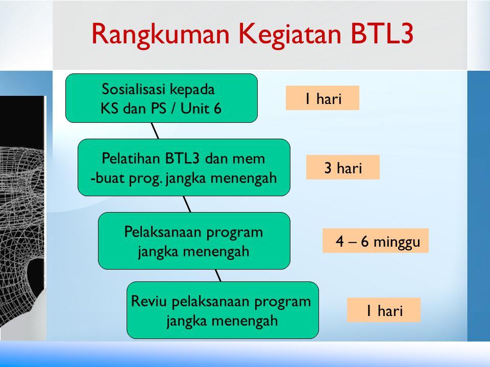 Rangkuman Kegiatan BTL3 Pelatihan BTL3 dan mem -buat prog. jangka menengah Pelaksanaan program jangka menengah Reviu pelaksanaan program jangka meneng