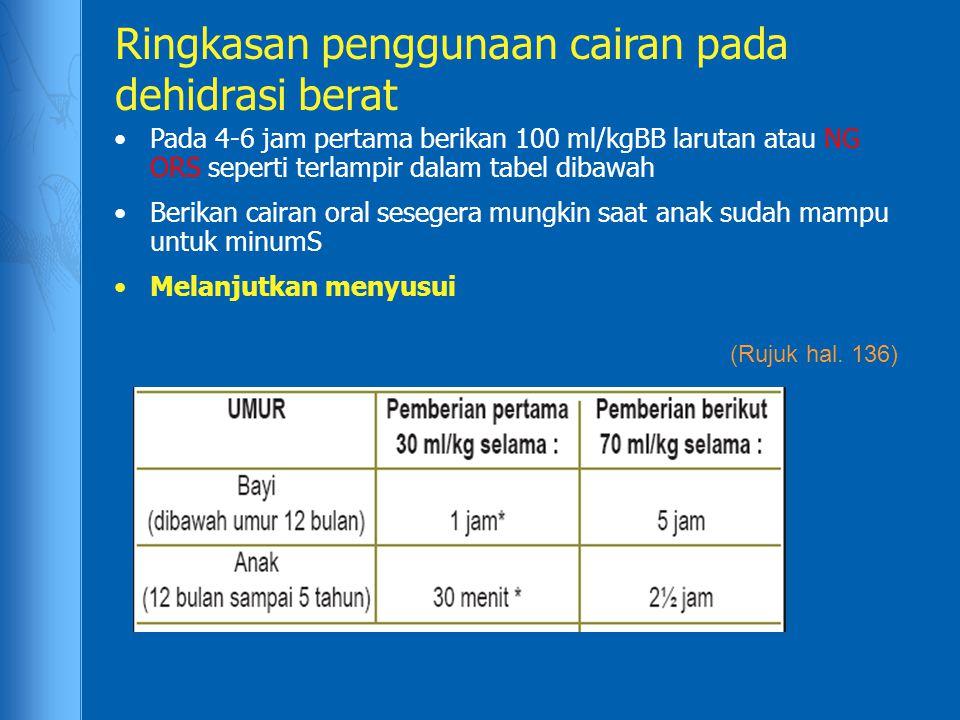 Ringkasan penggunaan cairan pada dehidrasi berat Pada 4-6 jam pertama berikan 100 ml/kgBB larutan atau NG ORS seperti terlampir dalam tabel dibawah Be