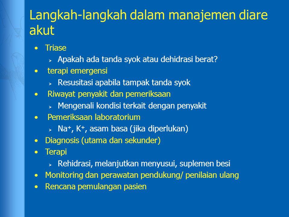 Langkah-langkah dalam manajemen diare akut Triase  Apakah ada tanda syok atau dehidrasi berat? terapi emergensi  Resusitasi apabila tampak tanda syo