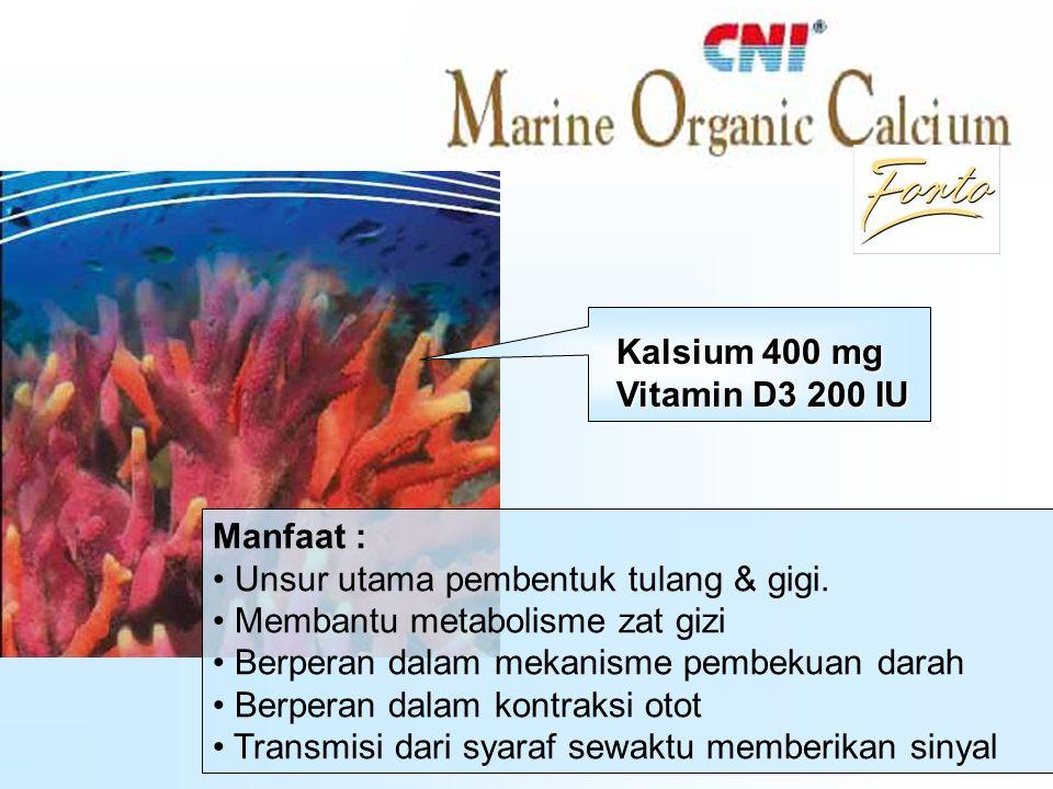 –Dari bahan coral calcium, Okinawa, Jepang –Alami, aman bagi tubuh –Mengandung 74 unsur mineral –Bentuk partikel lebih kecil, lebih mudah diserap –Mengandung vitamin D3, membantu penyerapan kalsium –Didukung hasil penelitian –Sertifikat Halal Ca PP P Keunggulan