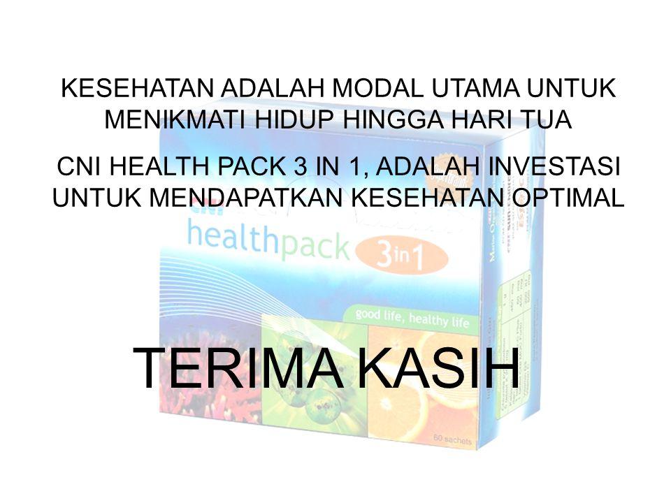 TERIMA KASIH KESEHATAN ADALAH MODAL UTAMA UNTUK MENIKMATI HIDUP HINGGA HARI TUA CNI HEALTH PACK 3 IN 1, ADALAH INVESTASI UNTUK MENDAPATKAN KESEHATAN O